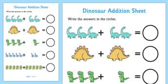 Dinosaur Addition Sheet - dinosaur themed, addition sheet, addition, addition worksheet, dinosaur themed worksheet, dinosaur themed addition sheet