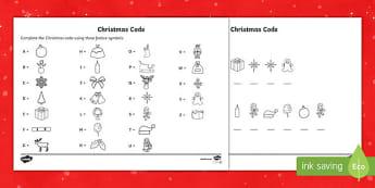 Cryptic Christmas code Activity Sheet-Australia
