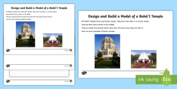 Design a Model of a Baha'i Temple Activity Sheet - KS1, religion, year 1, year 2, y1, y2, design, model, make a model, design a temple, dome, materials