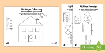 Colour by 2D Shapes Activity Sheet Italian Translation - shapes, colouring, activity, EAL