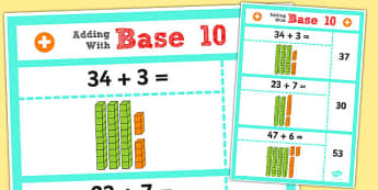 Year 2 Adding 2 Digit Numbers and Ones Using Base 10 Poster