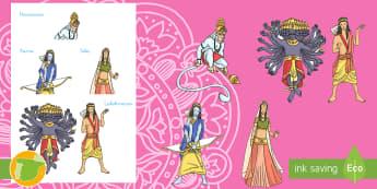 Diwali Marionetas de palo - leyenda, mitología, marionetas, marioneta, títere, títeres, historia, narrativa, personajes, Span