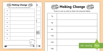 Making Change Activity Sheet - NI KS1 Numeracy, money, value, amount, 1 pence, home learning, homework, worksheet, play.