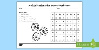 Multiplication Dice Game Worksheet - australia, multiplication