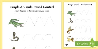 Jungle Animal-Themed Pencil Control Sheets - walking through the jungle, jungle, pencil control, line control, pencil control worksheet
