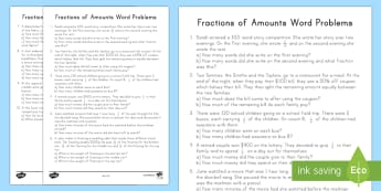 Fractions of Amounts Word Problems Activity Sheet - Fractions of amounts, word problems, 4th grade measurement and data, 4th grade word problems, 4.MD.A