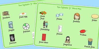 Two Syllable FR Word Mats - two syllable, fr, word mats, word, mats, fr sound