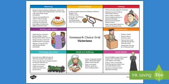 Victorian CfE Homework Grid - Homework ideas, homework grid, homework choice, social studies, victorians, queen Victoria,Scottish