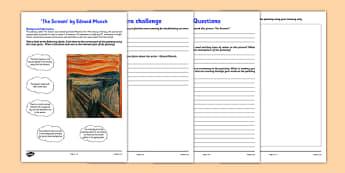 The Scream by Munch Art Appreciation Activity Sheet - art, appreciation, activity sheet, Munch, The Scream, worksheet
