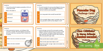 Y6 Pancake Day Maths Challenge Cards Romanian Translation - pancake day, shrove tuesday, maths, mathematics, challenge cards, year 6, y6, ks2, uks2, upper ks2,R