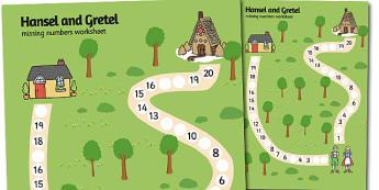Hansel and Gretel Missing Number Path Worksheet - missing number