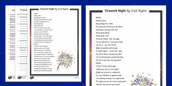 Firework Night Poem By Enid Blyton Differentiated Reading Comprehension Activity