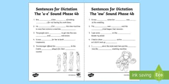 Northern Ireland Linguistic Phonics Stage 5 and 6, Phase 4b 'u-e' and 'aw' Dictation Sentences Activity Sheets  - NI, missing words, cloze, words, 'ue', 'aw', sounds, phonics, Worksheets