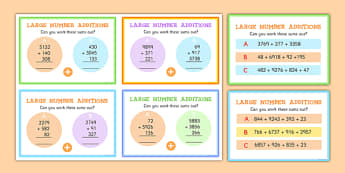 Large Numbers Addition Maths Challenge Cards - numbers, add, math