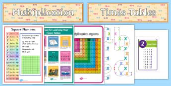 Times Tables Display Display Pack - multiplication, poster, visual, display, times, x,