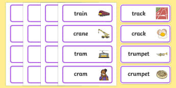'tr' and 'kr' Cluster Contrast Word Cards