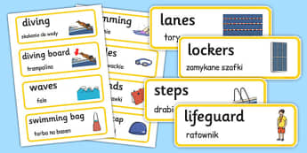 Swimming Pool Word Cards Polish Translation - polish, swimming pool, word cards, word, cards