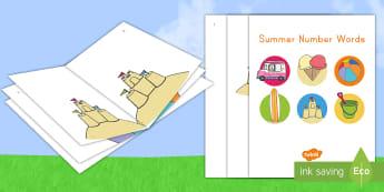 Summer Number Words Emergent Reader - Summer, summer season, first day of summer, summer vacation, summertime, number words, sight words,