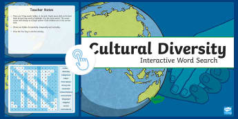 Cultural Diversity Interactive Word Search  - ACHASSK140, year 6, geography, AC, vocabulary, word recognition, metalanguage, spelling,Australia