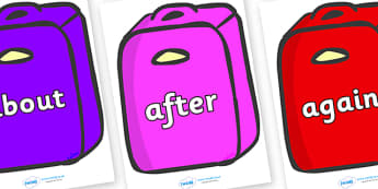 KS1 Keywords on Suitcases - KS1, CLL, Communication language and literacy, Display, Key words, high frequency words, foundation stage literacy, DfES Letters and Sounds, Letters and Sounds, spelling