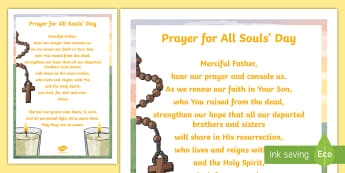 Prayer for All Souls Day Large Display Poster - november, rest in peace, remebering, dead, christianity,Irish