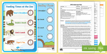 EYFS Feeding Time at the Zoo Adult Input Plan and Resource Pack - Early Years Planning, Adult Led, foundation, shape space and measure, clock, o'clock, EYFS,