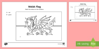 Welsh Flag Colour by Number - flag, colouring, welsh, st. david, Welsh, colour, colour by numbers, wales, welsh dragon, number rec