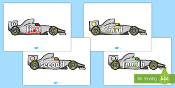 Ordinal Number Words on Race Cars - ordinal, numbers, cars, race