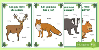 Woodland Animal Movement Cards - Woodland, forest, animals, fox, deer, rabbit, badger, bird, squirrel, movement, PD, physical develop