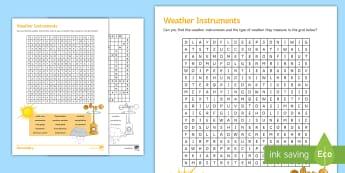 Weather Instrument Wordsearch Activity Sheet - Weather, Weather Instruments, Thermometer, Anemometer, Wind vane, Barometer, Temperature, Rain Gauge