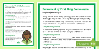 Sacrament of First Communion Prayers of the Faithful Print-Out - Prayers of the Faithful, ROI, Ireland, sacrament, First Communion, Roman Catholic, prayer service, a