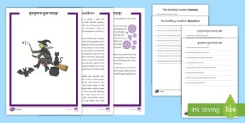 Halloween Differentiated Reading Comprehension Activity Pack English/Hindi - Halloween, October, festival, autumn, celebration, spooky, ghosts, witch, zombies,cat, cauldron, hau