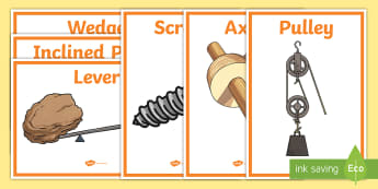 Simple Machines Display Posters - machines, simple, machine, lever, display, poster, sign, inclined plane, pulley, wedge, wheel and axle, screw