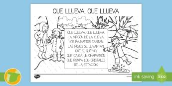 Que llueva, que llueva  Hoja de colorear -  canción, tradicional, popular,Spanish