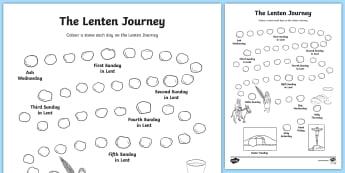 The Lenten Journey Colouring Page - ROI Lent, Easter, lenten journey, easter sunday, holy week, religion, ,Irish