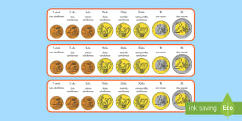 Recta numérica: Las monedas - dinero, rectas, recta, monedas, euro, euros, moneda, céntimo, céntimos, cts., cént, ayuda visual,
