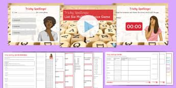 Tricky Spellings List Six Activity Pack - spelling, SPAG, tricky, words, misspelt,