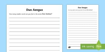 Dun Aengus Word Within a Word Activity - ROI - Dún Aonghusa, bronze age, fort, dun aengus, aran islands, inishmore, galway,Irish