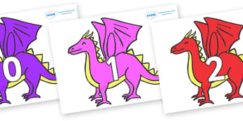 Numbers 0-50 on Dragons - 0-50, foundation stage numeracy, Number recognition, Number flashcards, counting, number frieze, Display numbers, number posters