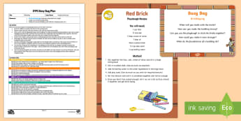 EYFS Bricklayer Busy Bag Plan and Resource Pack  - bricks, building, playdough, tower, connecting, wall,