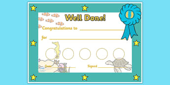 Under The Sea Sticker Reward Certificates (30mm) - Under the sea sticker Reward Certificate (30mm), under the sea, reward certificate, certificate, reward, 30mm, 30 mm, stickers, twinkl stickers, award, certificate, well done, behaviour management, b