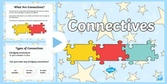 Connectives PowerPoint - conjunctions, connectives, new, Primary, language, curriculum,Irish
