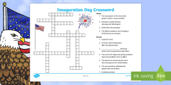 KS2 Inauguration Day Crossword - KS1/2 Donald Trump Inauguration Day Jan 20th 2017, Inauguration Day, crossword, activity, inaugurati