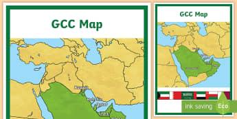 GCC Map A4 Display Poster - UAE, ADEC, MOE, map, gcc, gulf, middle east, flag, bahrain, kuwait, uae, oman, saudi arabia.