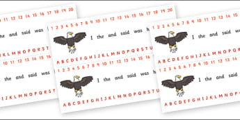 Number and Alphabet Strips (Eagle) - Alphabet, Numbers, Eagle, bird, Learning letters, Writing aid, Writing Area, Counting, Numberline, Number line, Counting on, Counting back