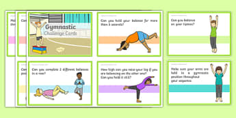 Gymnastic Challenge Cards Pdf Cards - Eyfs, physical development, movement, actions,