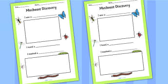 Minibeast Discovery Writing Frame - minibeast, writing, write