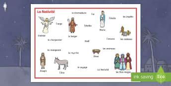 Set de mots : La Nativité - Noël, Christmas, Nativité, Nativity, mots, words, vocabulaire,French - Noël, Christmas, Nativité, Nativity, mots, words, vocabulaire,French