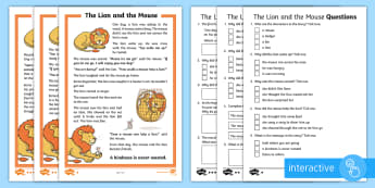 The Lion and the Mouse Differentiated Comprehension Go Respond Activity Sheets - Develop pleasure in reading, motivation to read, vocabulary and understanding, Understand what they