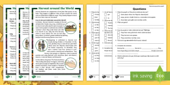 KS1 Harvest around the World Differentiated Reading Comprehension - Festival, Celebration, Non-fiction, Information, Food
